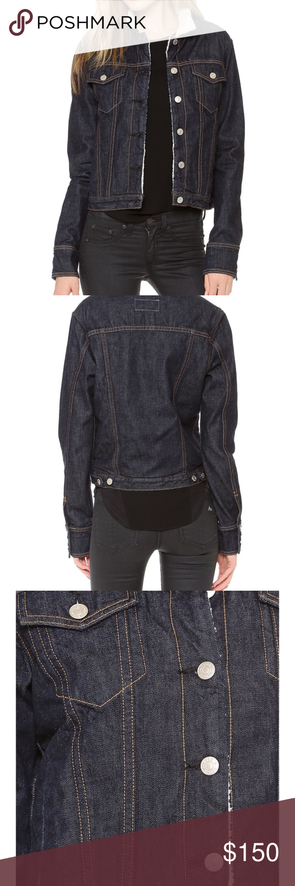 Nwt rag u bone faux shearling lined denim jacket a sturdy rag u bone
