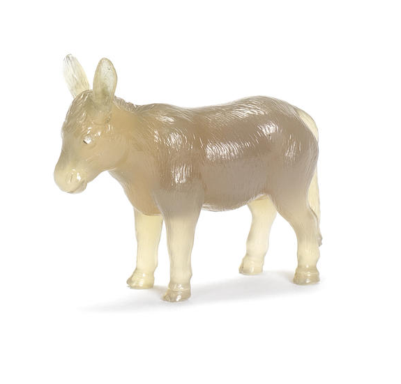 An agate figure of a donkey Fabergé, circa 1900 carved realistically, with diamond-set eyes