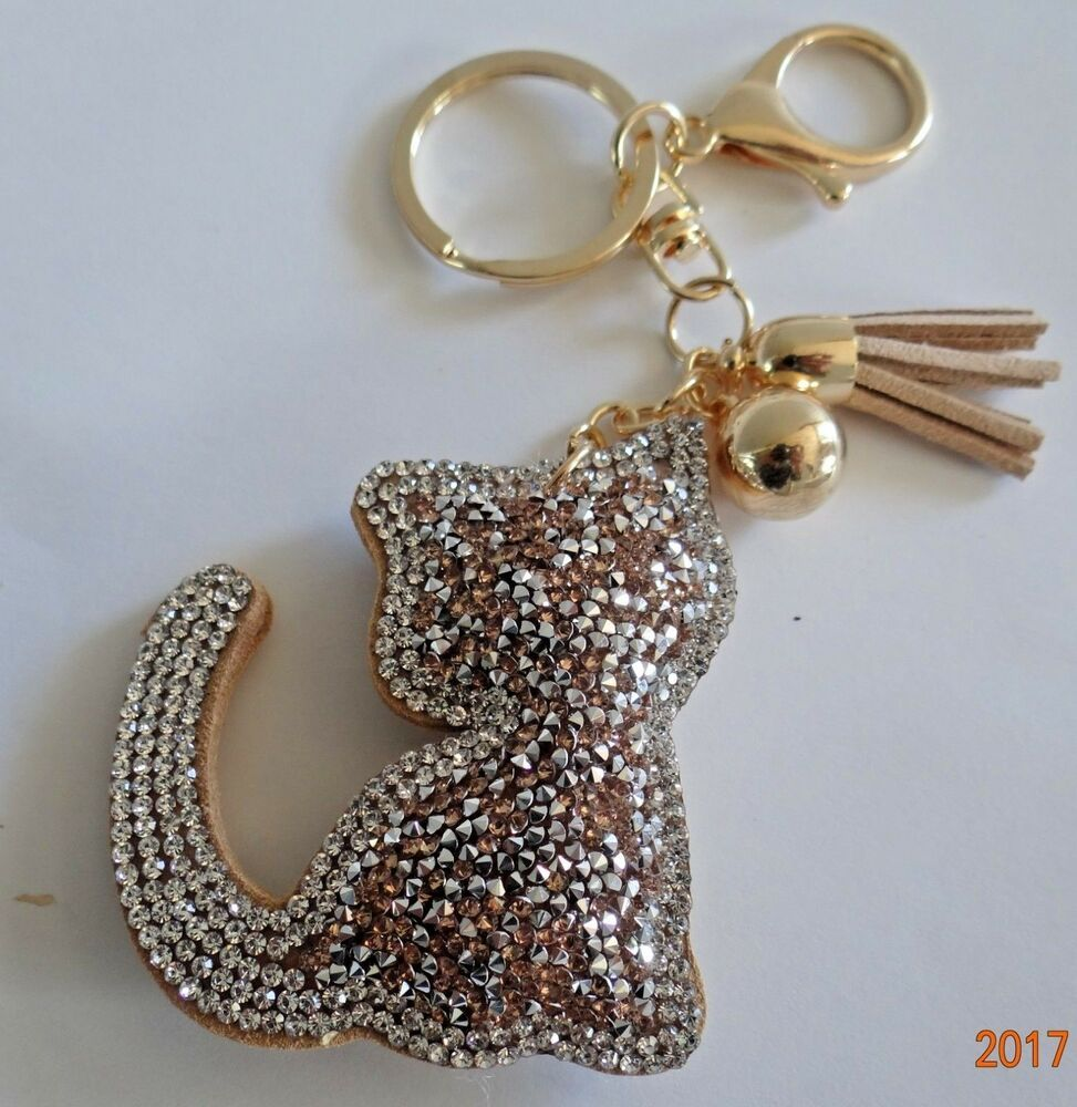Beaded Puffy Gold Beige Cat Key Chain Helps Feral Cats Kittens Rescue Charity Unbranded In 2020 Cat Keychain Kitten Rescue Cat Key