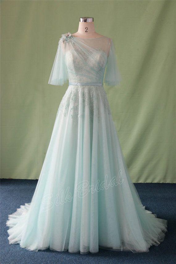 New Wedding Dress BeadedScoop Short Sleeve Wedding by SilkBridal ...
