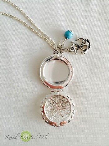 Aromatherapy Diffuser Necklace Locket with Wire Wrapped Howlite ...