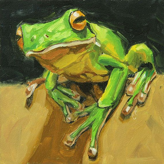 animal art | Animal art original oil painting of a tree frog by FinnellFineArt