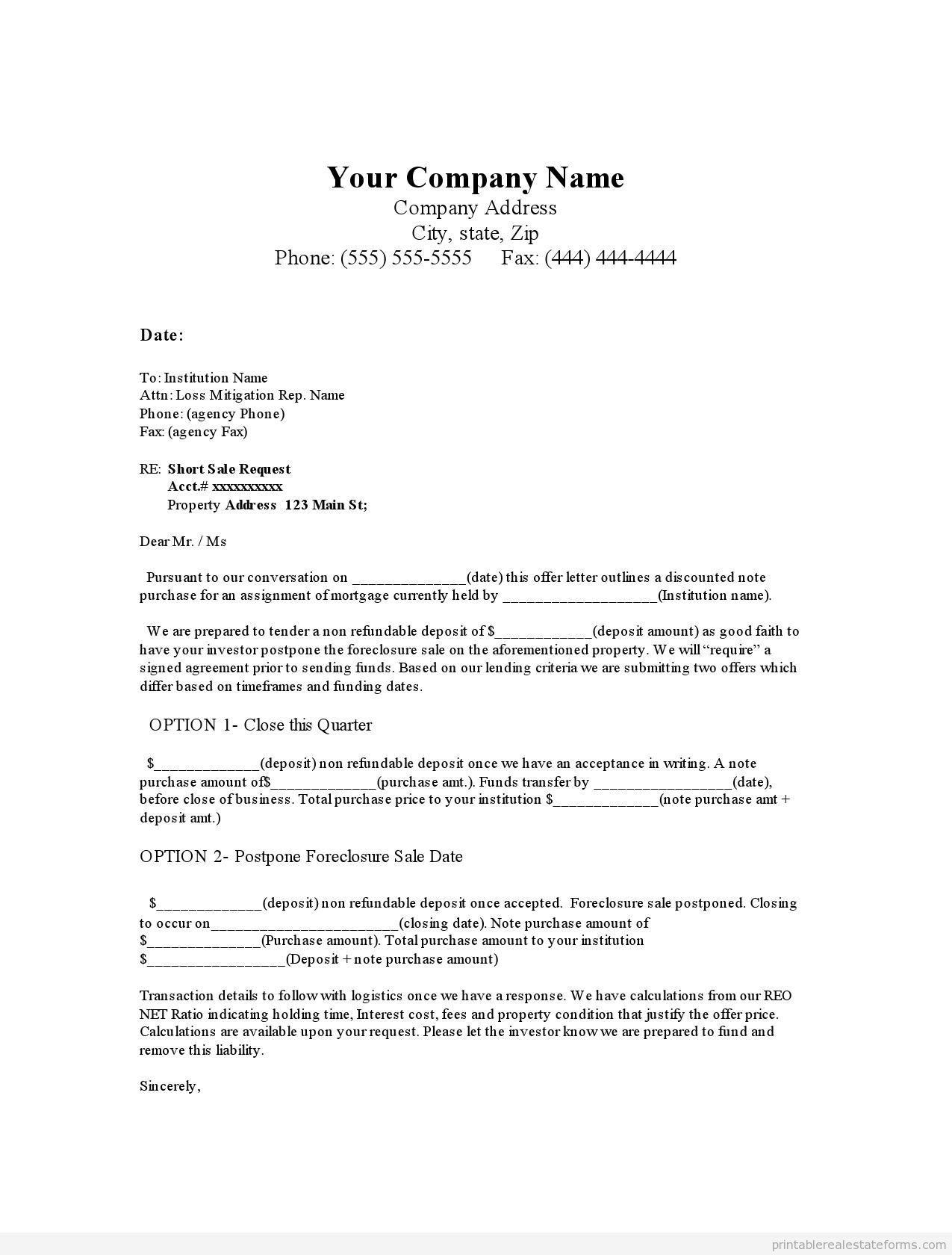 Sample Printable note purchase offer in leiu of short sale Form ...