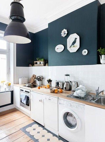 Cuisine En Blanc Et Bleu J Aime Le Luminaire De Style Industriel
