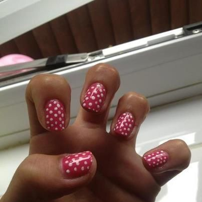 Shellac - Today the polka dots were done with OPI varnish, this is fast becoming my signature design!!