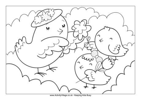 Mother And Baby Birds Colouring Page Bird Coloring Pages