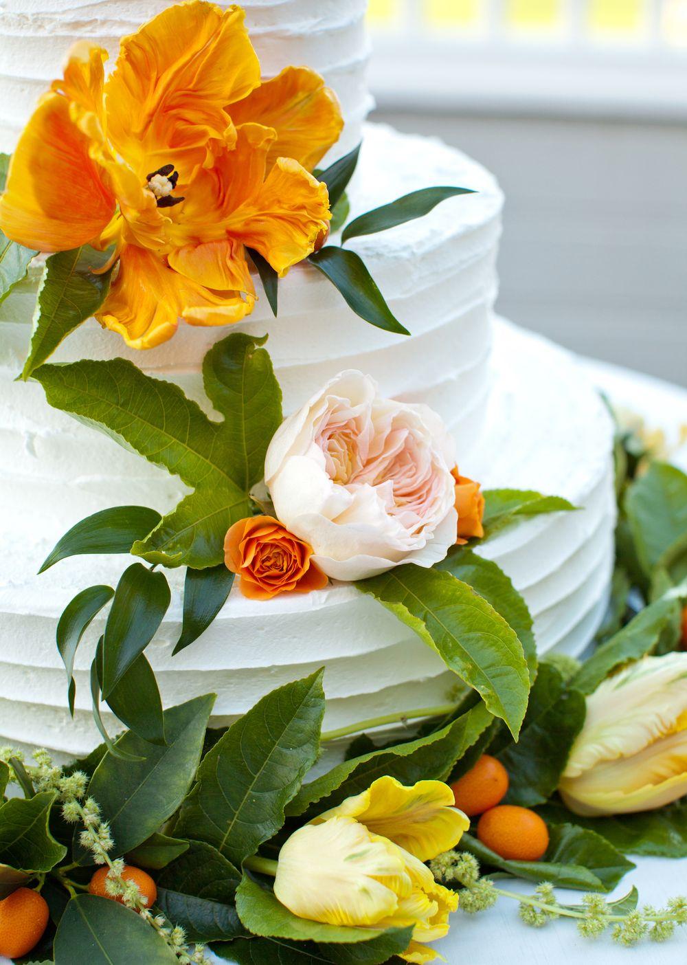 Citrus garden rose, tulip & passion fruit cake decorated by San ...
