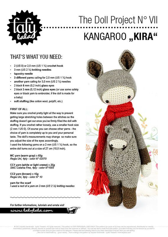 lalylala crochet pattern KANGAROO KIRA amigurumi by lalylala | Mario ...