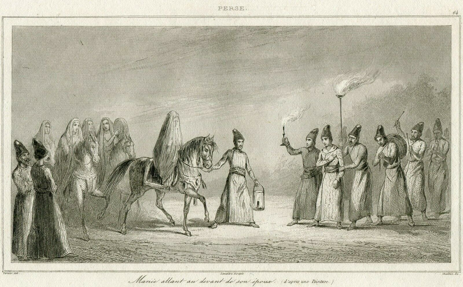 Wedding Marriage Persia Iran Antique Engraving 1841
