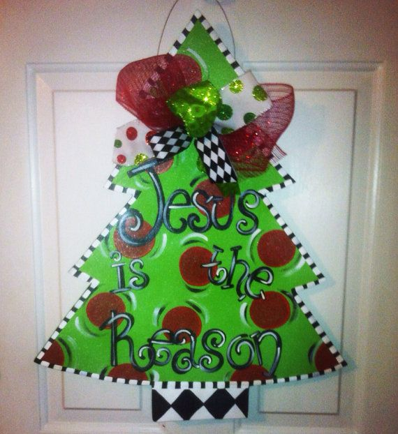 Wooden Christmas Tree Door Hanger Wooden christmas trees, Hanger
