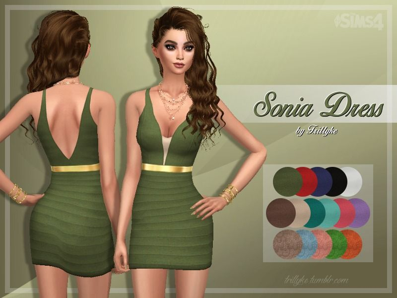 A formal, layered short dress with a shiny, golden belt around the waist. Found in TSR Category 'Sims 4 Female Everyday'
