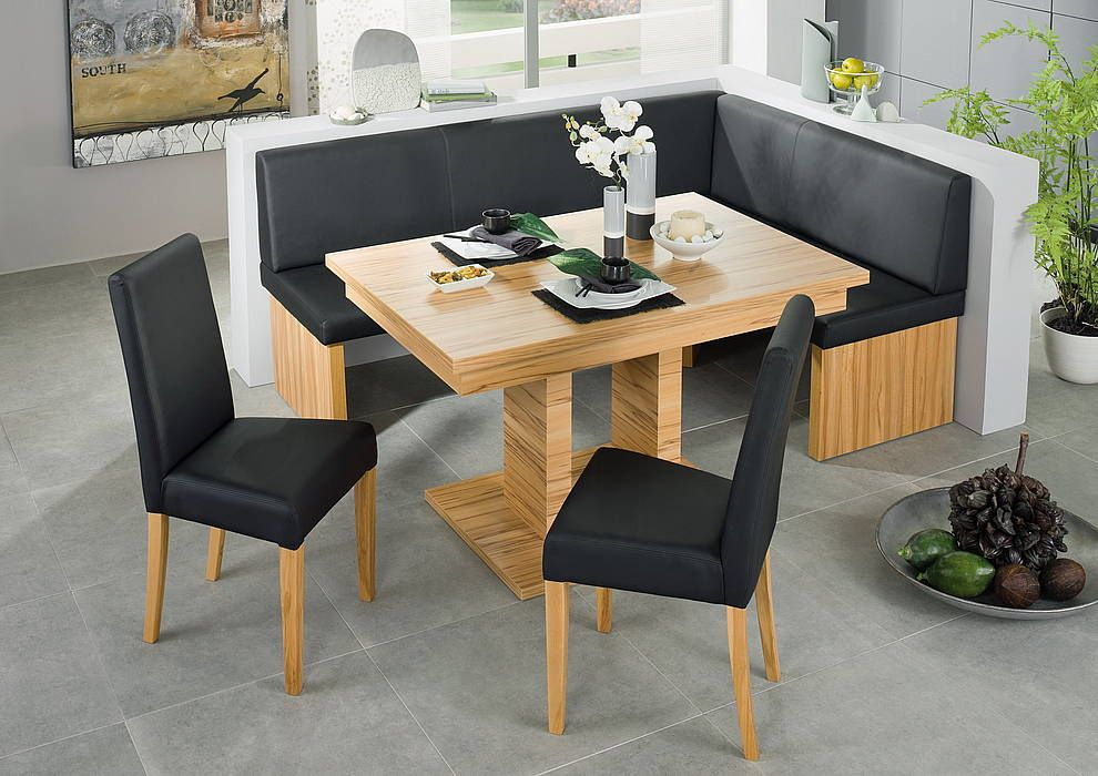 Black Leather Corner Bench Breakfast Booth Nook Kitchen Nook Booth - Kitchen table and chairs set with booth
