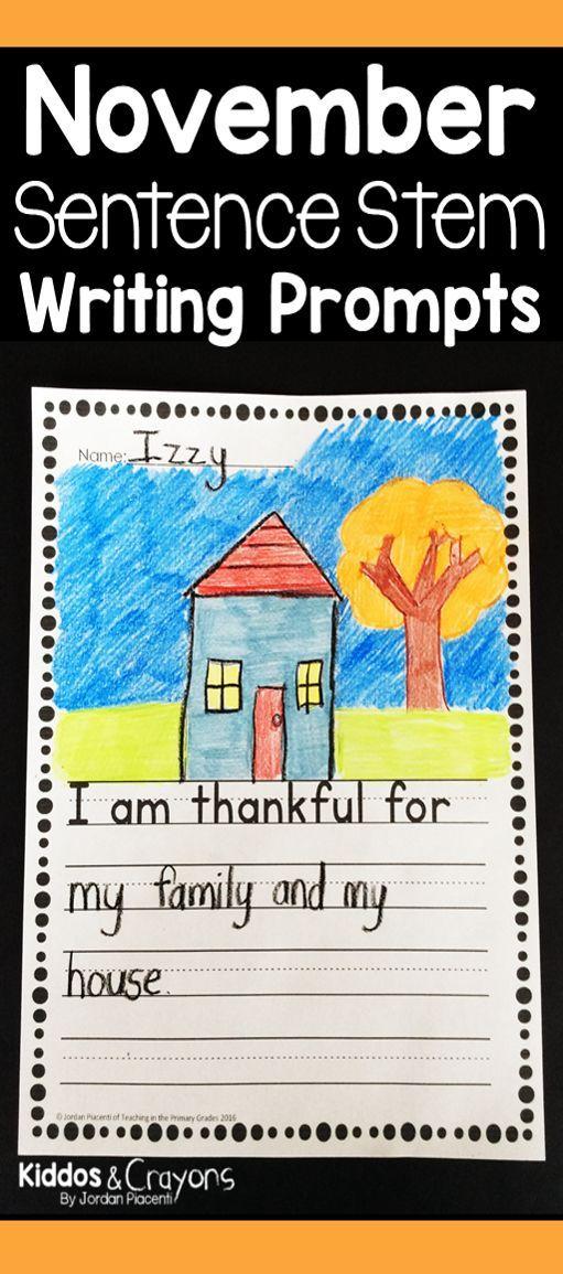 November Sentence Stems | Sentence stems, Writing lessons and ...