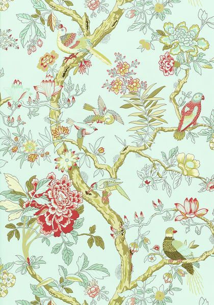 This Is A Lovely Pattern With Flowers Vines And Birds Of All Shapes And Sizes There Is A Happiness To This Pattern That Would Lif Tapeten Wandmalerei Malerei