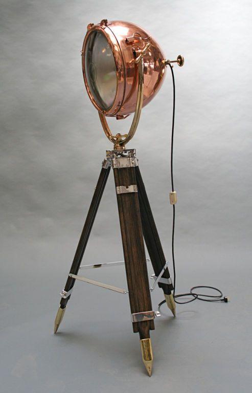 General Electric Copper Nautical Spotlight 1stdibs Com Vintage Floor Lamp Lamp Floor Lamp