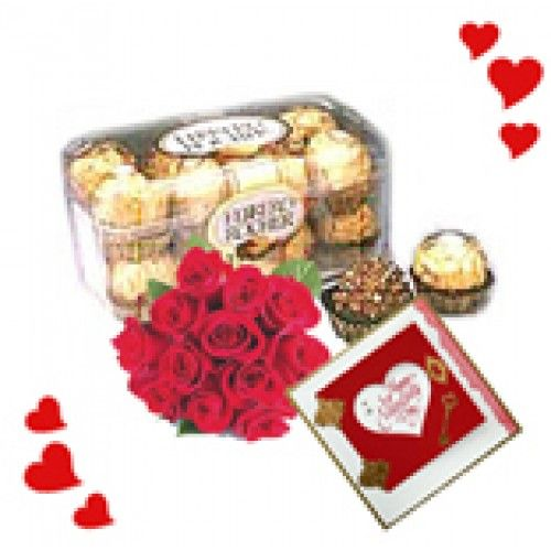 Buy #Ferrero Rochers and Roses @RS.1,150.00 only from flowersforindia online.  http://flowersforindia.com/index.php?route=product/product&product_id=222