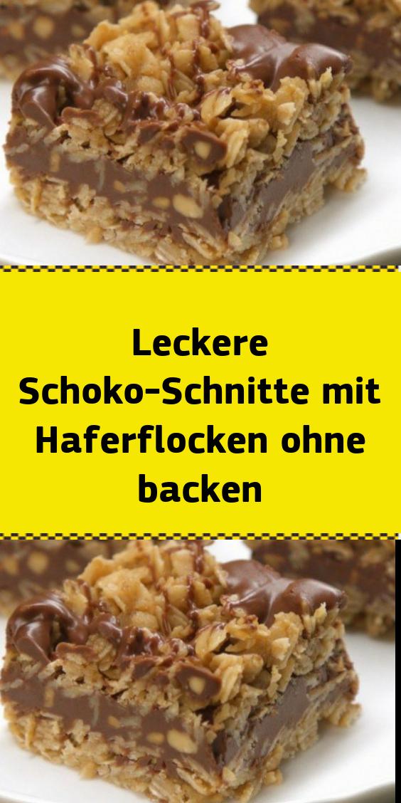 Leckere Schoko-Schnitte mit Haferflocken ohne backen #plätzchenrezept