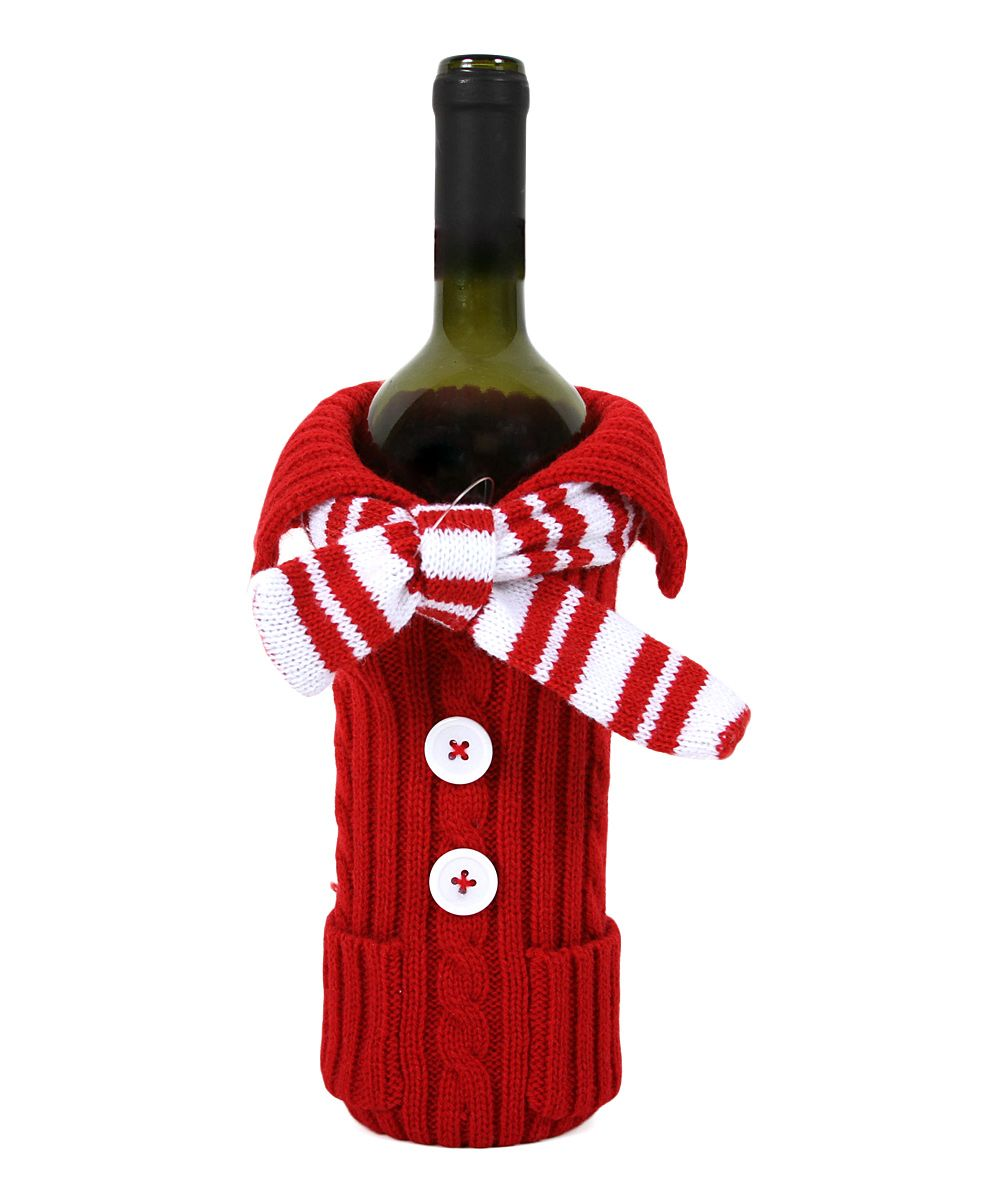 Red White Sweater Knit Bottle Cover Bottle Cover Diy Crafts For Gifts Knitting