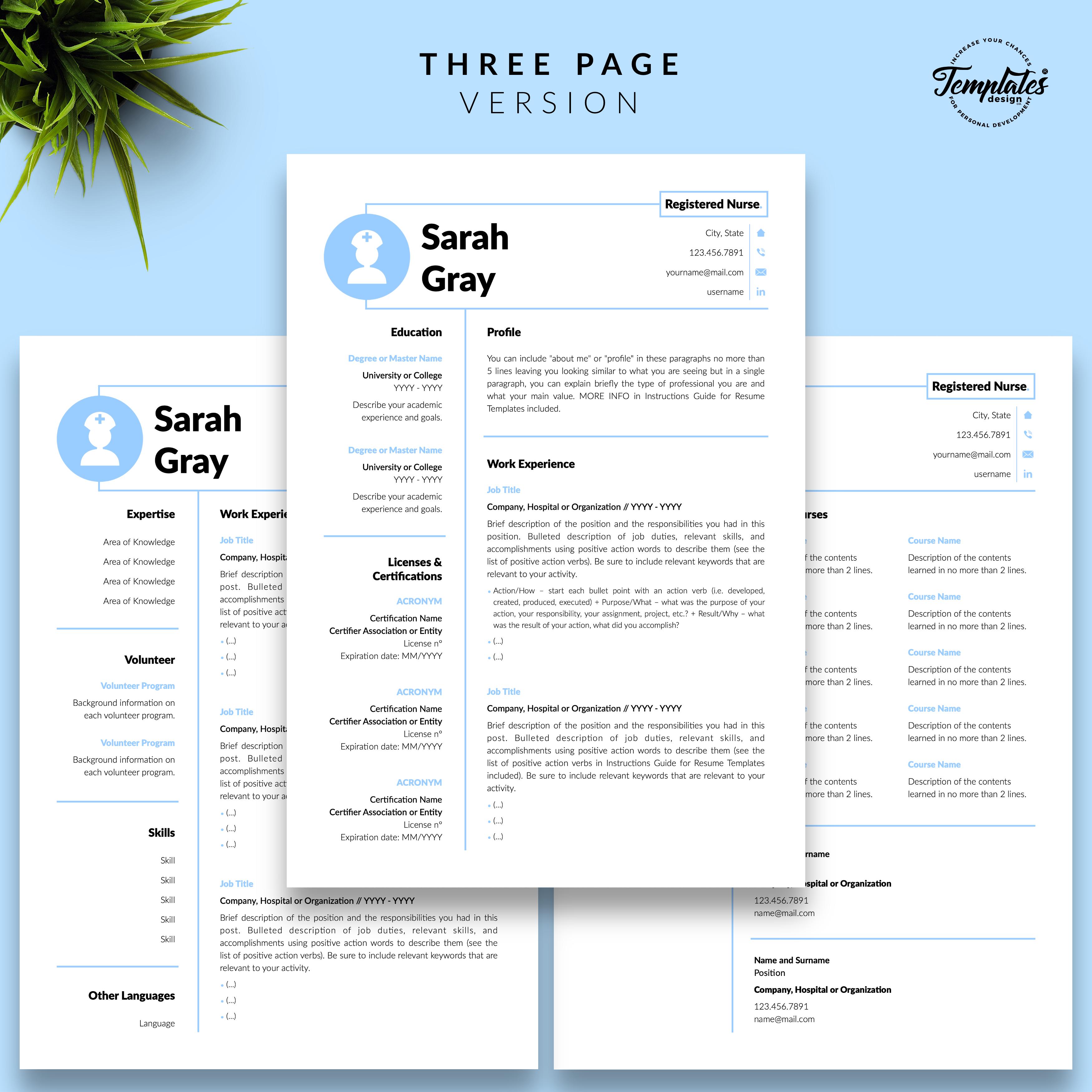 Professionelle Lebenslauf Vorlage Fur Microsoft Word Und Apple Pages Nursing Resume Template Medical Resume Reference Letter