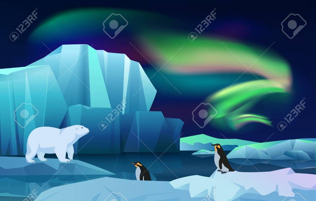 Cartoon Vector Nature Winter Arctic Ice Landscape With Iceberg Snow Mountains Hills Polar Night With Aurora Borealis Polar Night Arctic Ice Illustration Art