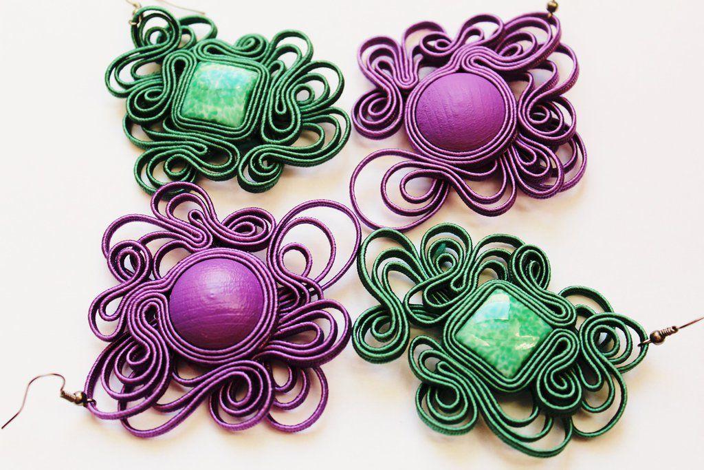 Earrings violet and emerald soutache by GosiaBizu.deviantart.com on @DeviantArt