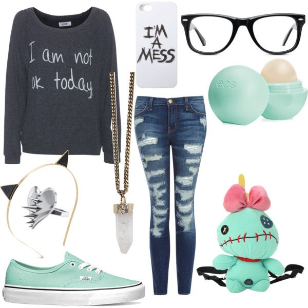 mopey day by sparklelovesugar on Polyvore featuring polyvore fashion style LAUREN MOSHI Current/Elliott Vans Disney Givenchy LUSASUL Muse Kate Spade Eos