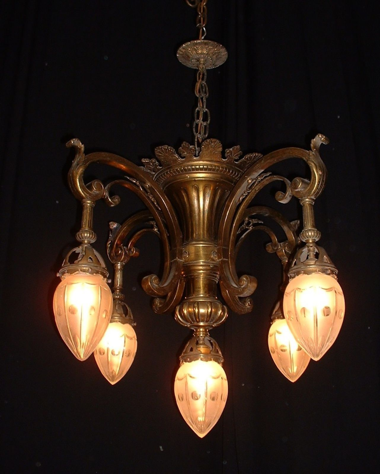 Antique French Bronze Chandelier w