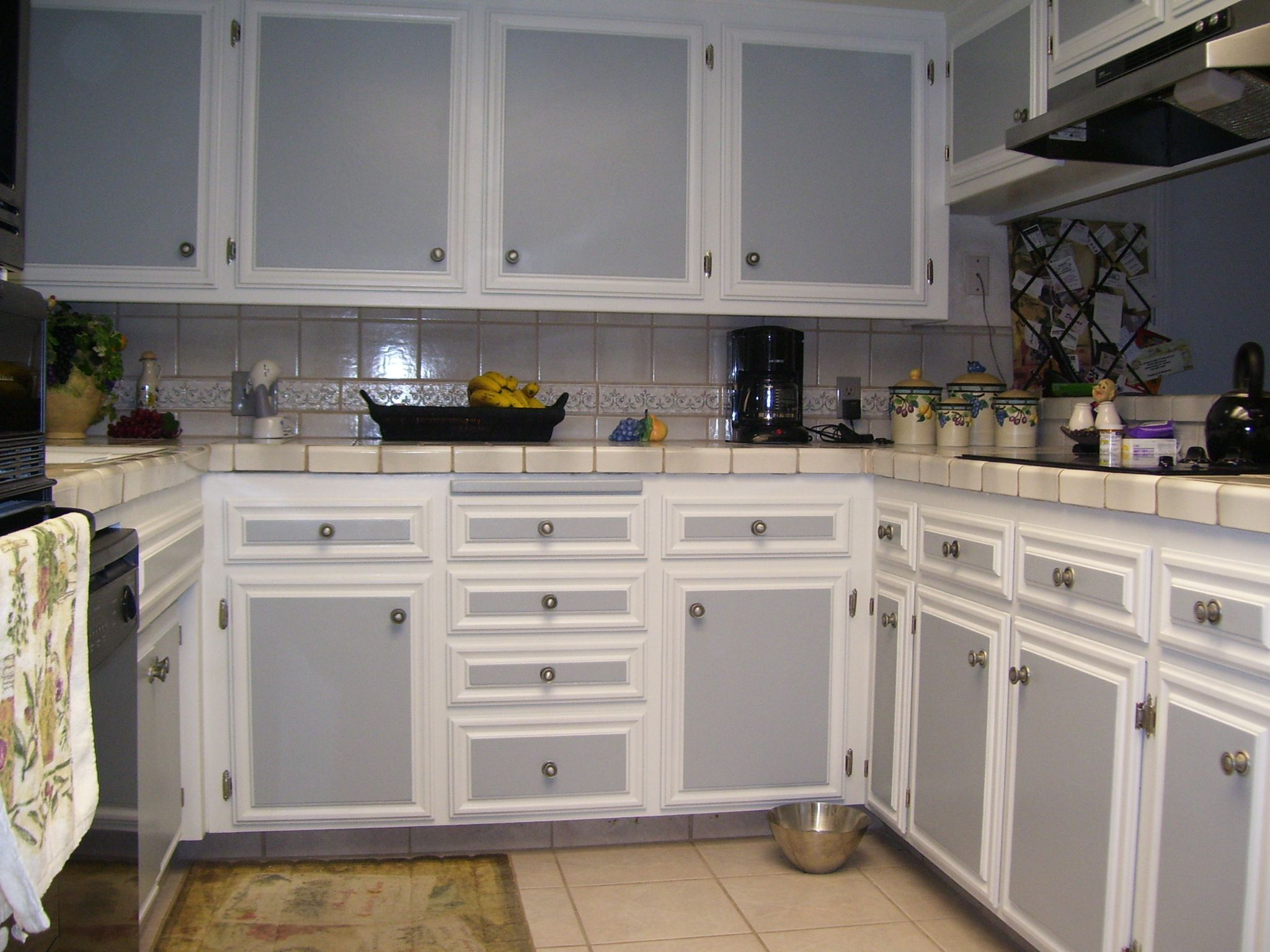 The Kitchen Cabinet #26: Kitchen:White Kitchen Cabinet Grey Door Brown Tile Floor Ceramic Tile Wall Banana Brown Bowl
