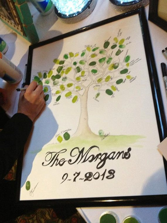 "Amazing personalized ""naked"" tree. Have your friends and family ""leaf"" their finger print and sign their name, perfect for weddings and family get together!!! LOVE IT!!!"