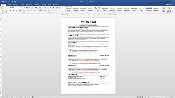 Resume Template Word Mac Beauteous Resume Template Professional Resume Template Instant Download Modern .
