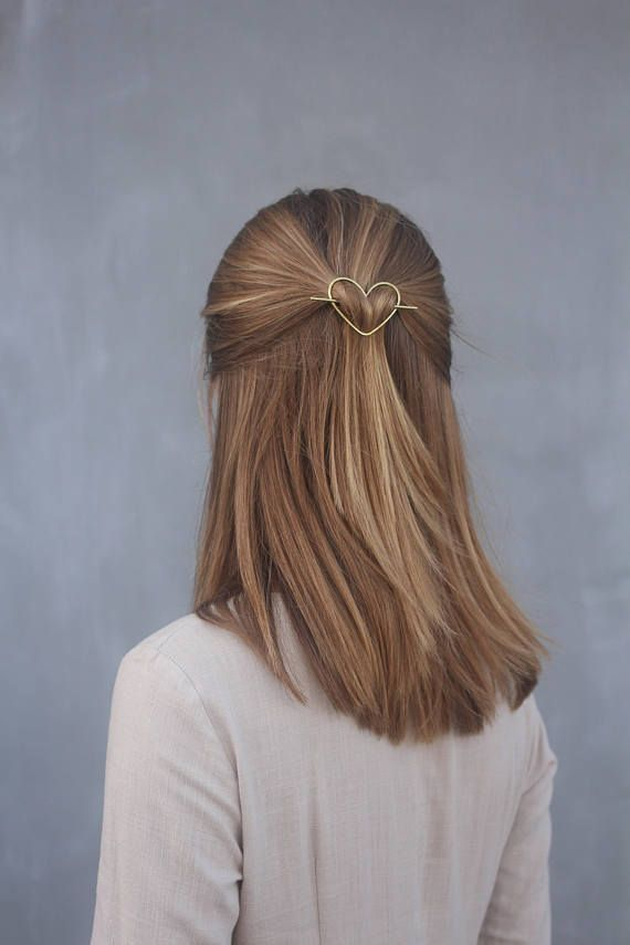 Heart hair clip love hair barrette heart hair accessory small hair clip brass ha... - #accessory #Barrette #Brass #clip #ha #hair #Heart #love #Small #bridalhair