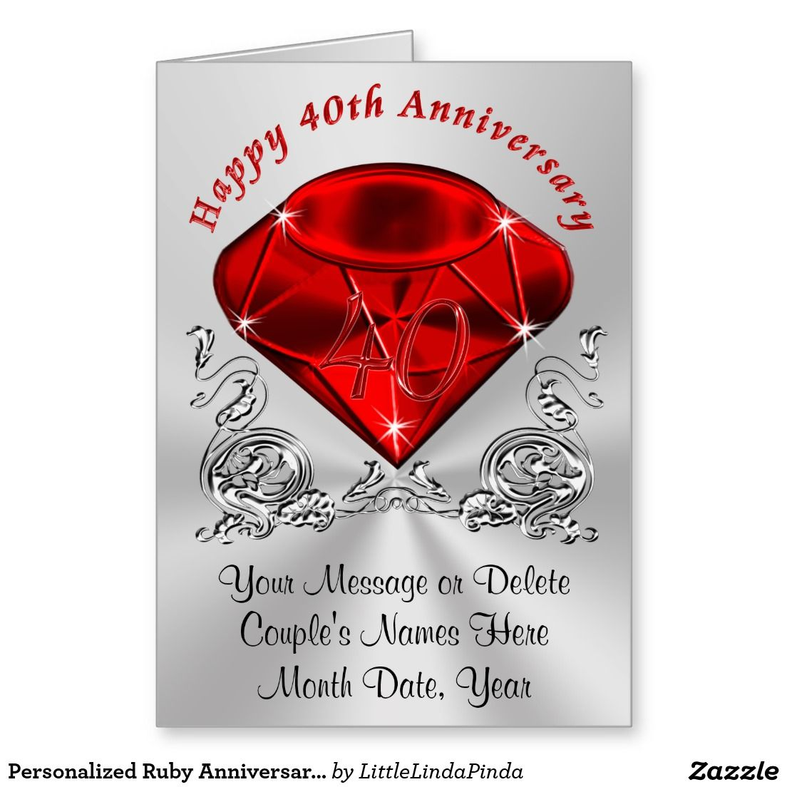 Personalized With Your Names And Message Ruby Wedding Anniversary Card For You Wife Husband