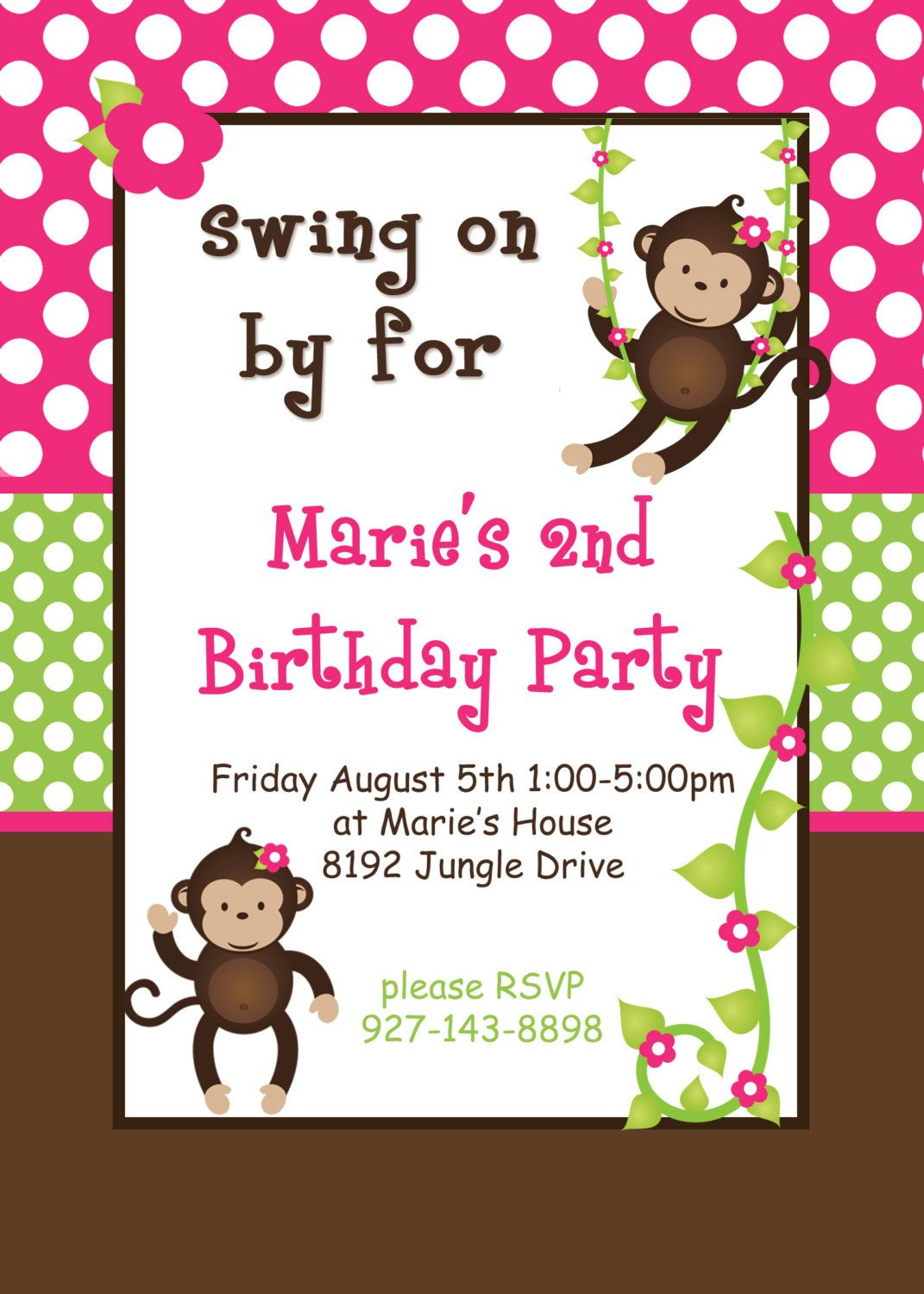 DIY Girl Monkey Birthday Collection PRINTABLE Party Package Banner ...