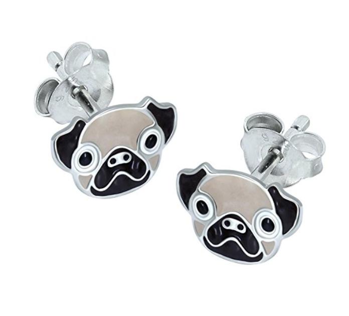 925 Sterling Silver Pug Dog Puppy Kids Girls Women Stud Earrings Jewellery Gift