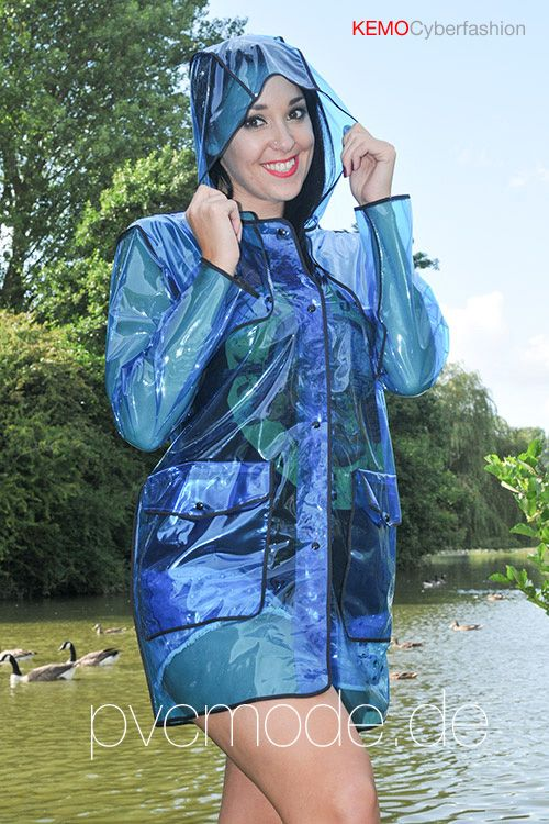 Glass Clear Blue Pvc Festival Jacket From Kemo
