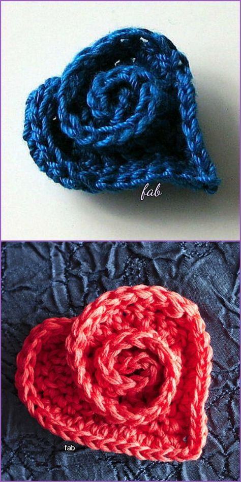 Crochet Heart Rose Free Pattern with Video Tutorial | Ganchillo ...