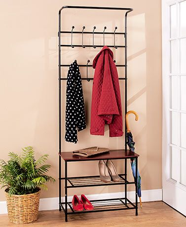 Entryway Bench With Coat Rack Offers Handy Storage Space And A Place Best Coat Rack With Storage Space