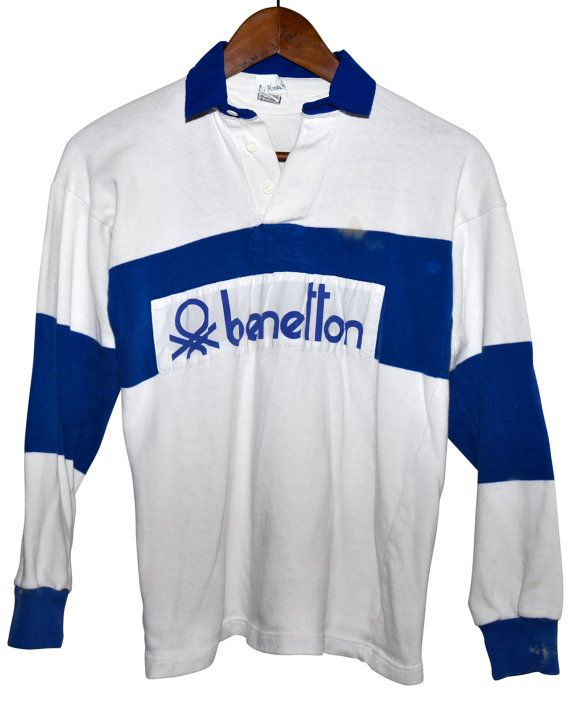77c18c67ce3 Vintage 80s BENETTON Rugby Shirt Blue & White Striped by louise49 ...