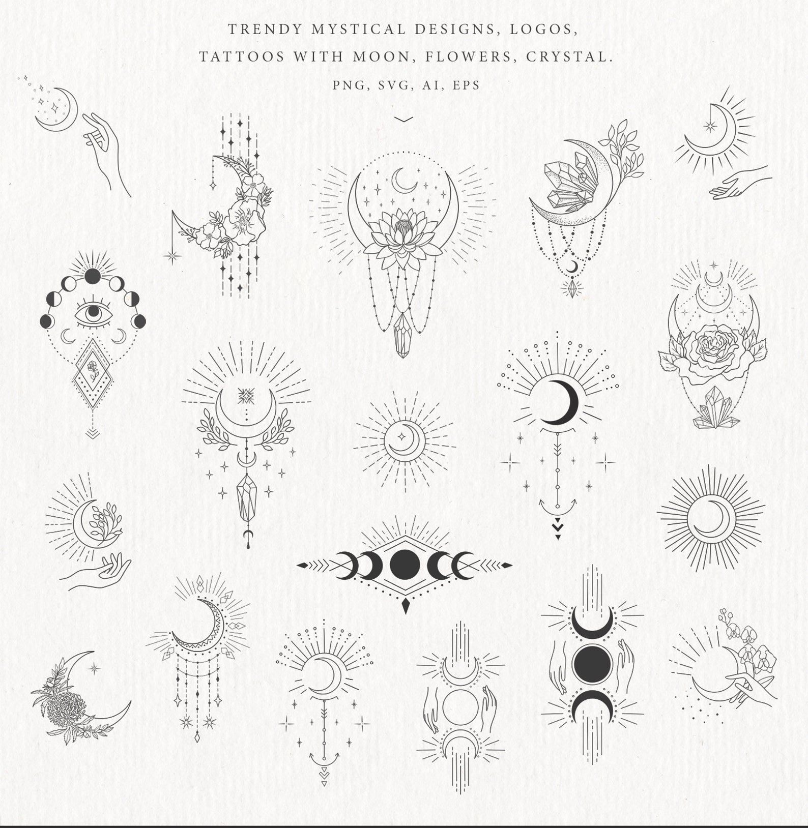 Moon Clipart Crystal Phases Botanical Floral Leave