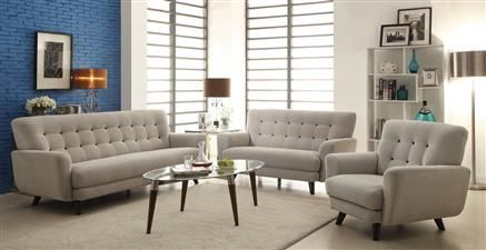 Maguire Modern Light Grey Charcoal Fabric Living Room Set Living