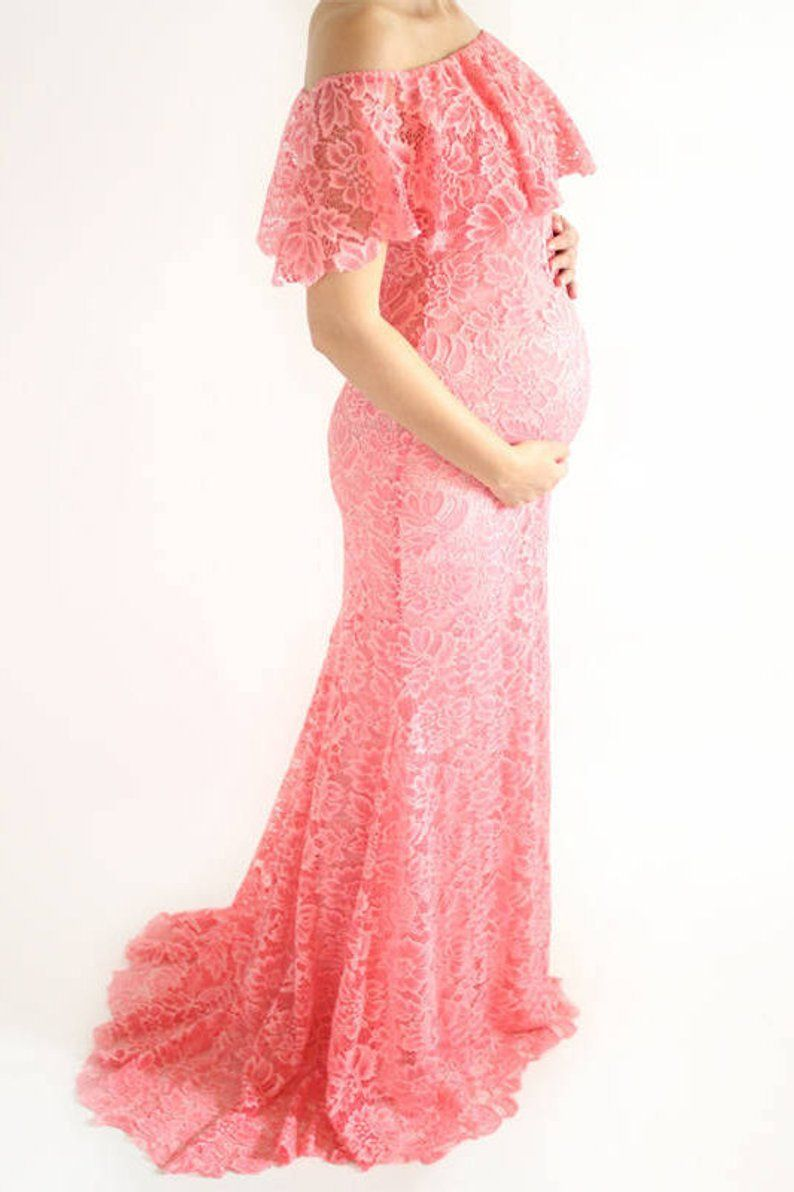 6f5f160d2f8cb DALIA Lace Maternity Dress for Baby Shower Off Shoulder Lace   This maternity  dress is just so perfect for a spring maternity photoshoot!