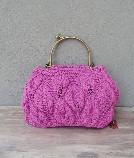 Maglia sacchetto viola lavorato a mano borsa bohemien fiori  c5b4a0453e5