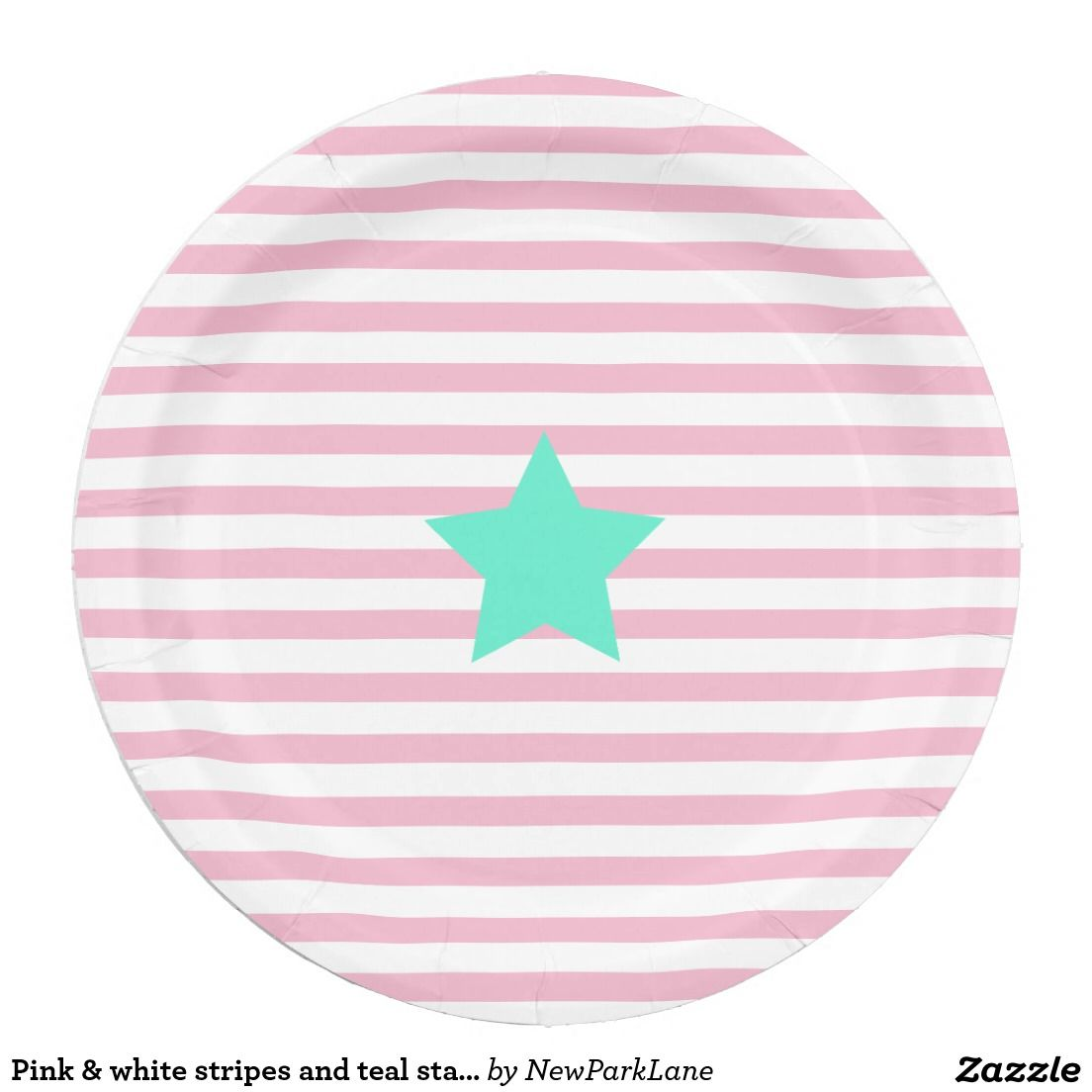 Pink & white stripes and teal star - Paper Plates