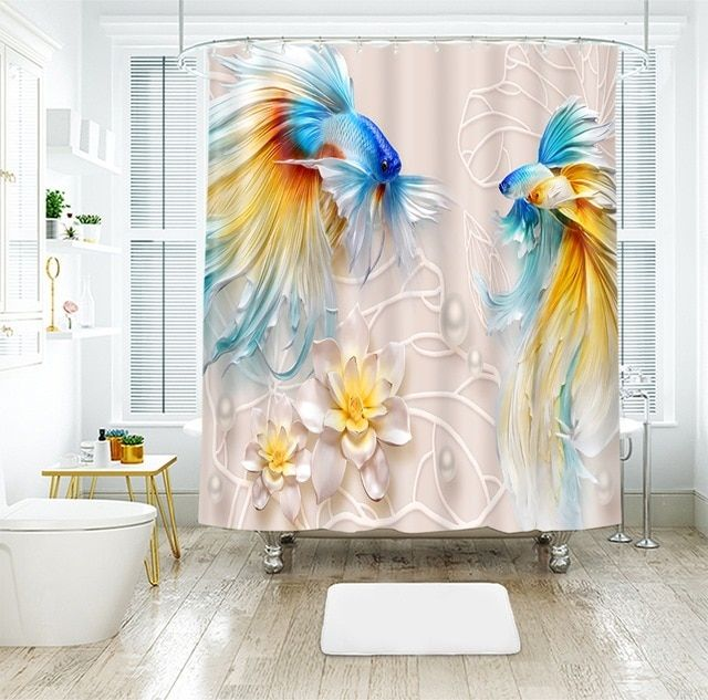 3d Goldfish Flower Relief Pattern Shower Curtains Landscape