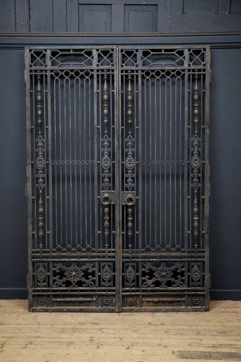A Pair Of Wrought Iron Internal Doors With Overdoor Secondary Opening Frames To The Rear Of All That Would Have Iron Doors Iron Entry Doors Metal Doors Design