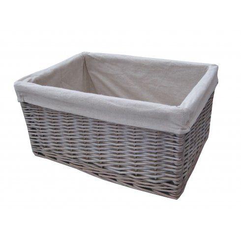 Antique Wash Wicker Lined Storage Basket