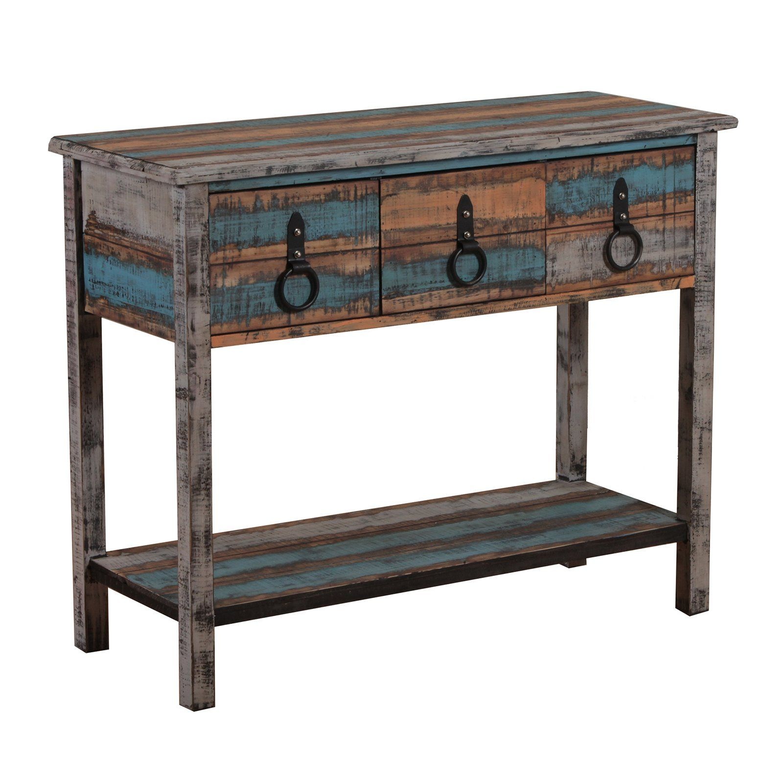 Powell Calypso Rectangle Console Table Heavily Distressed Blue