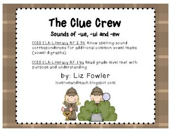 The Clue Crew: Sounds of ue, ui, and ew Word Work | Words ...