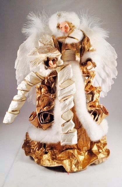 Large White  Gold Christmas Tree Angel Tree Topper or Stand Alone
