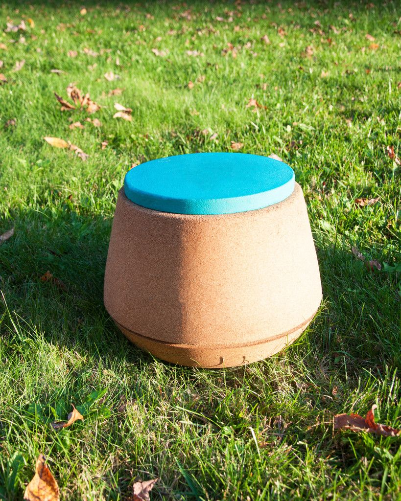 Acorn Chair in cobalt blue - great for children. Get them back in the yard! Naturally anti-bacterial, non-flammable, non-electric conductor. Also very light-weight and durable! Kids can store items inside.   Made by Besta Cork *Note* - Also great for adults to fix posture and to help with meditation. 100% Recycled Natural Cork